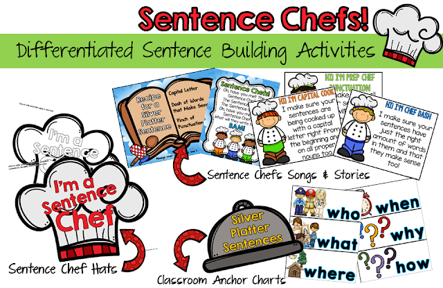 Teach sentence writing with the Sentence Chefs! Kids will be cooking up silver platter sentences in a snap!