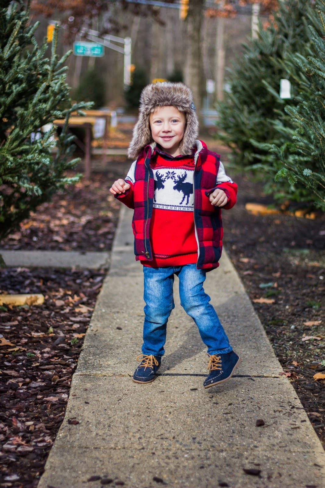 Boys Red plaid vest