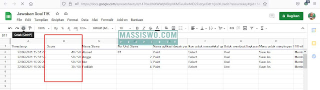 Hasil score spreadsheet