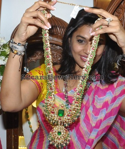 Peacock Long Chain with Emeralds