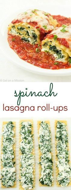 Spinach Lasagna Roll-Ups