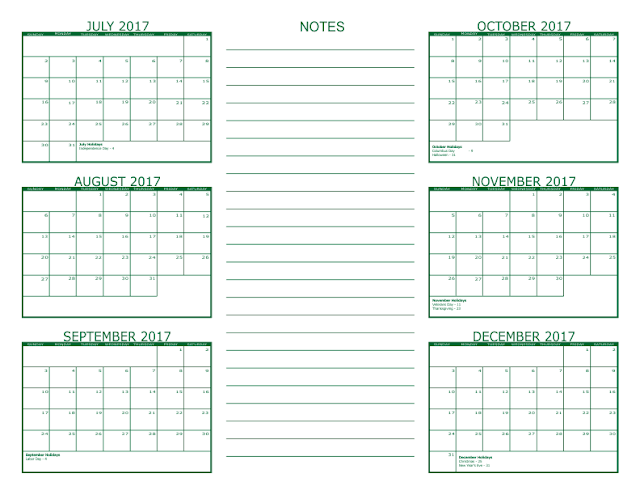 July/August/September 2017 | Three Months Printable Calendar