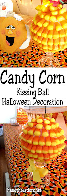 Decorate for your Halloween party with a fun and easy Candy Corn kiss ball.  These quick directions will show you step by step how to turn your Halloween decorations from cool to AWESOME-SAUCE.