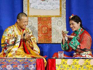 Sakyong Mipham Rinpoche, left, and his bride Princess Tseyang Palmo. The spiritual leader of an international Buddhist organization based in Halifax is stepping back from his duties pending the outcome of an independent investigation into sexual misconduct allegations against him.  (ANDREW VAUGHAN / THE CANADIAN PRESS)
