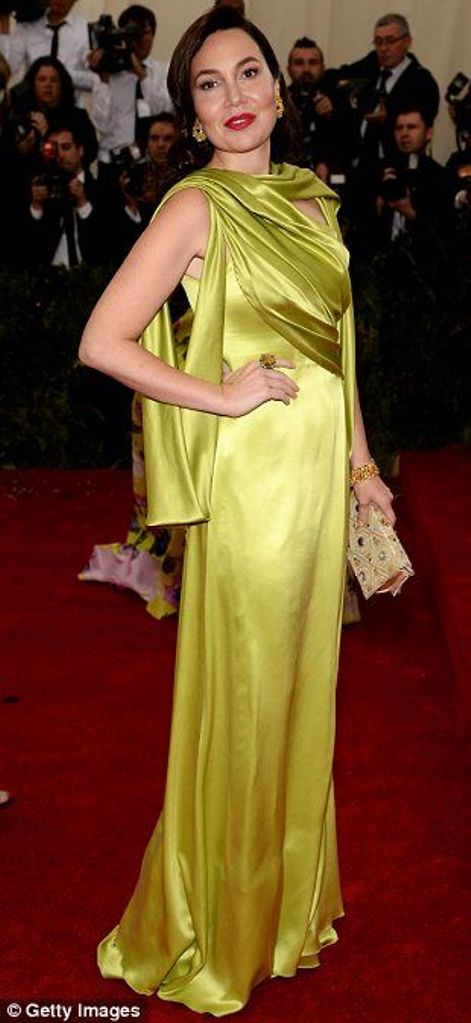 Fabiola Beracasa in an apple green Rodarte gown at the Met Gala 2014