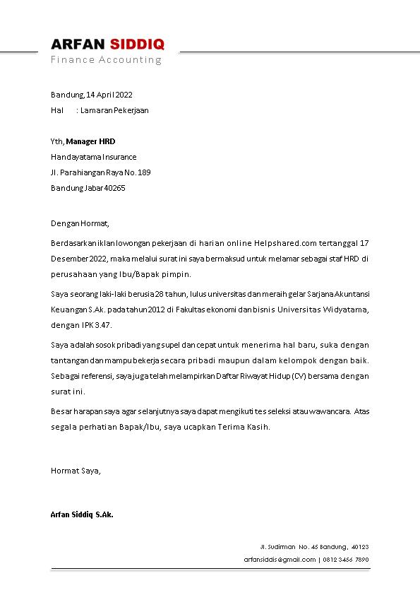 Kop Surat Lamaran Kerja