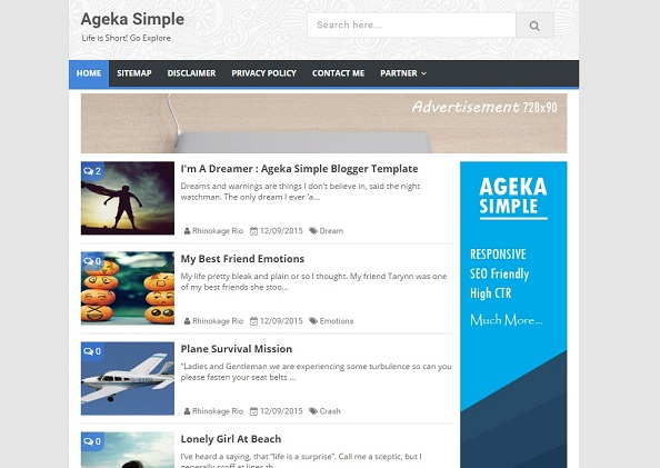 Tampilan Ageka Simple Blogger Template