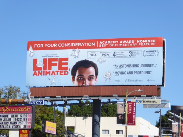 Life Animated Oscar nominee documentary billboard