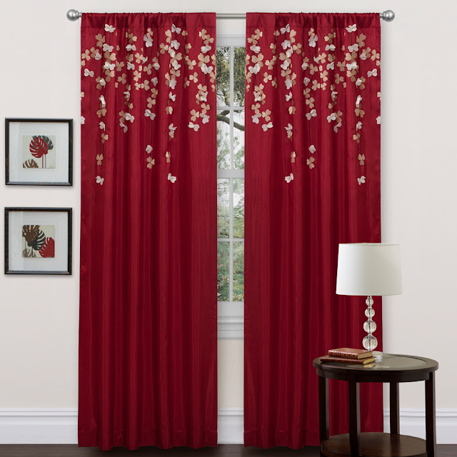 cool red curtain ideas with butterfly patterns