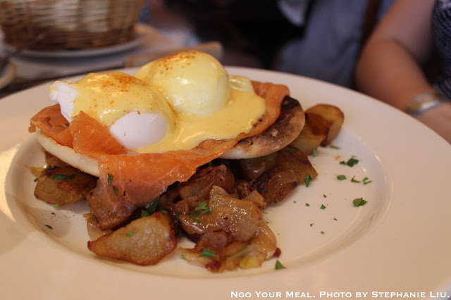 Eggs Norwegian: poached eggs with smoked salmon and hollandaise at Balthazar