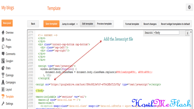 add javascript file to blogger template