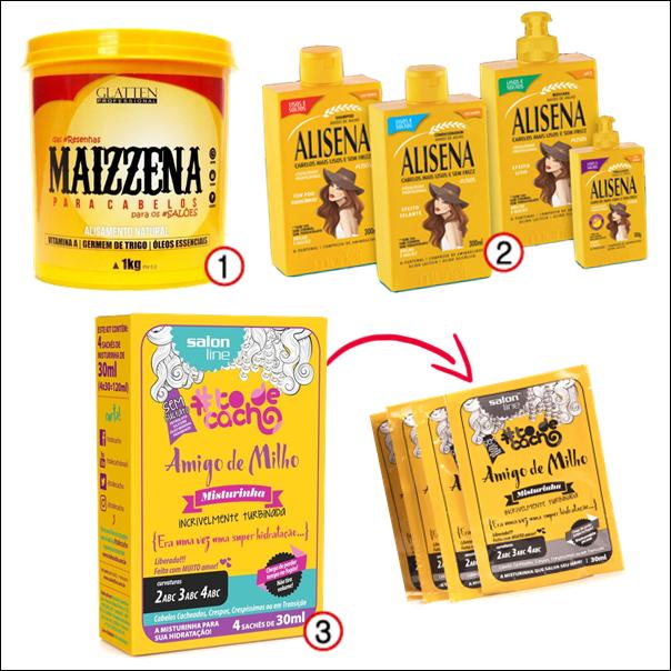 Produtos de cabelo inspirados em comida maizzena alisena amigo de milho