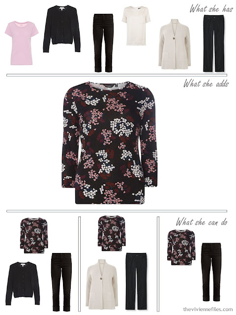 adding a floral tee shirt to a capsule wardrobe
