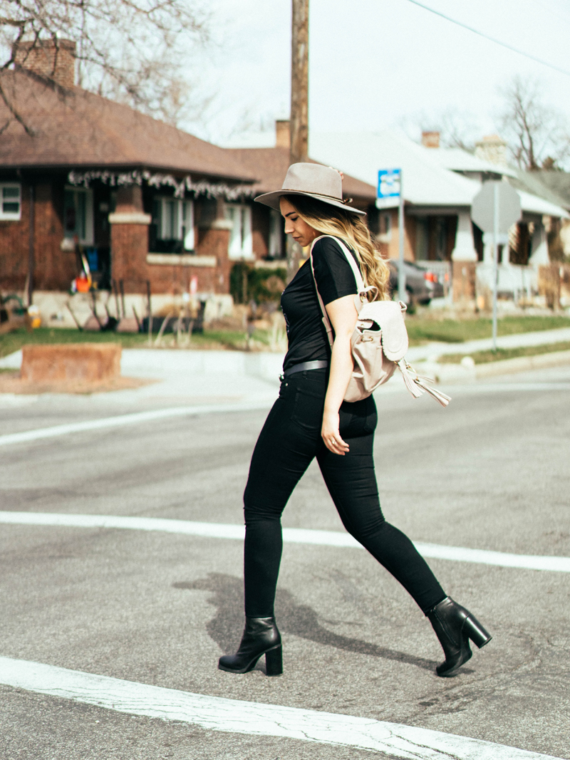 all black outfit, chic style, urban style outfit