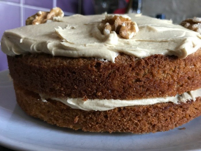 A finished coffee & walnut cake