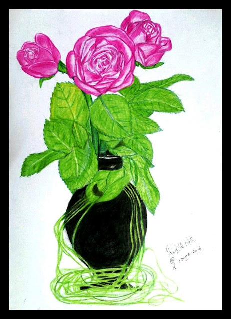 PENCIL DRAWING - THREE ROSES