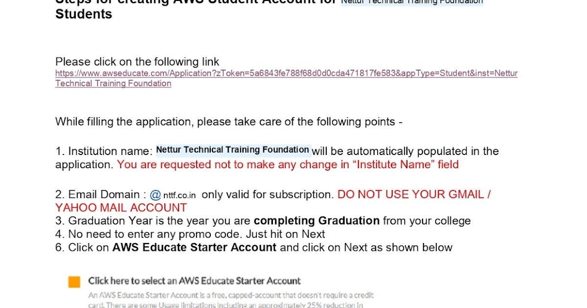 NTTF TTC: AWS Account Registration
