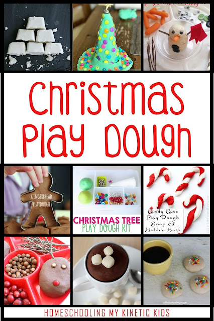 Christmas Play Dough // Homeschooling My Kinetic Kids // Recipes // Peppermint // 45 Ways to Play During Winter Break // Keeping Kids Busy During Christmas // Slime Recipes // Sensory Bins // Handwriting Practice // Snow Play