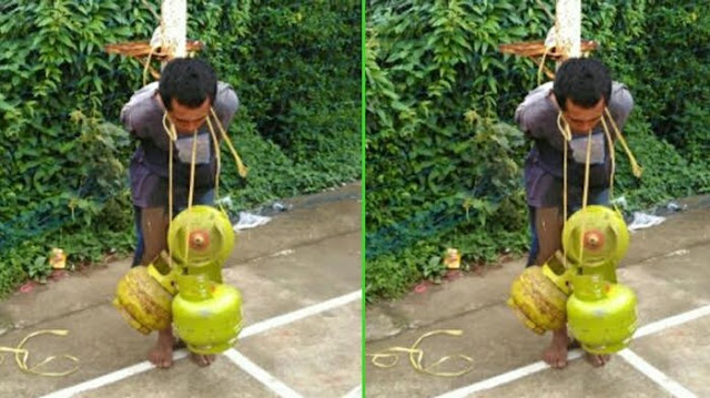 Ketangkap Saat Curi Tabung Gas Melon, Pemuda Ini Diikat di Tiang dan Dikalungi Tabung Gas
