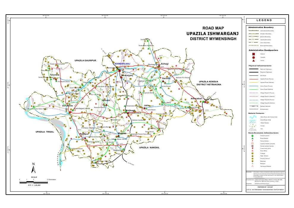 Ishwarganj Upazila Road Map Mymensingh District Bangladesh