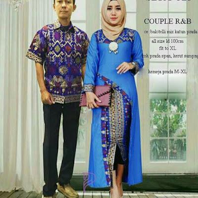 Batik Pasangan SBRG 125 Couple Gamis Kebaya Modern Biru