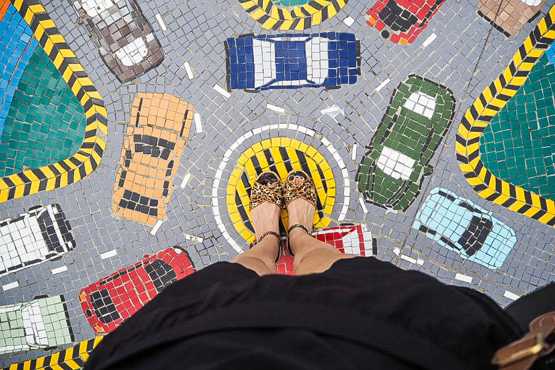 Cars on the road mosaic tiles