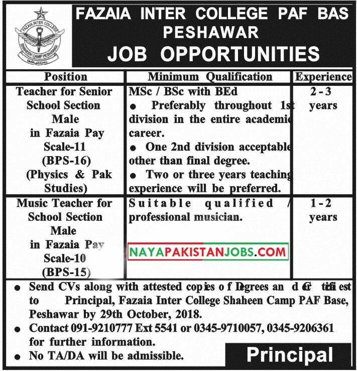 Latest Vacancies Announced in Fazaia Inter College Peshawar 28 October 2018 - Naya Pakistan