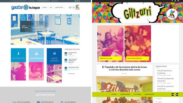 Páginas web de Giltzarri y el centro de información juvenil