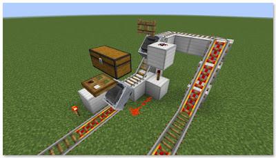 Minecraft トロッコ輸送 積み込み駅 複線 完成図②