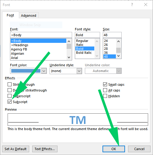 how to make a subscript in word