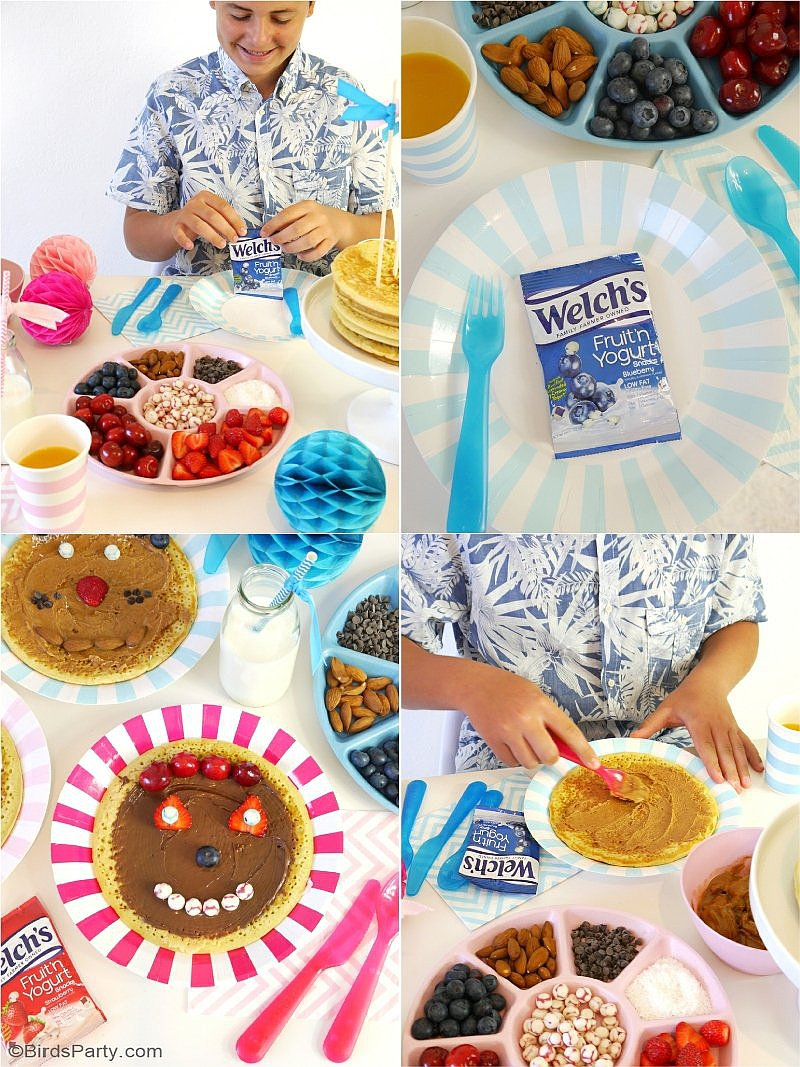 A Back to School Pancake Bar - easy,  tasty breakfast or after school snack ideas to kick off and celebrate the start of the school year in style for your kids! by BirdsParty.com @birdsparty #pancakebar #pancakepajamasparty #pancakesandpajamas #breakfastideas #backtoschool #backtoschoolbreakfast #afterschoolsnacks #lunchboxideas #lunchboxmeals