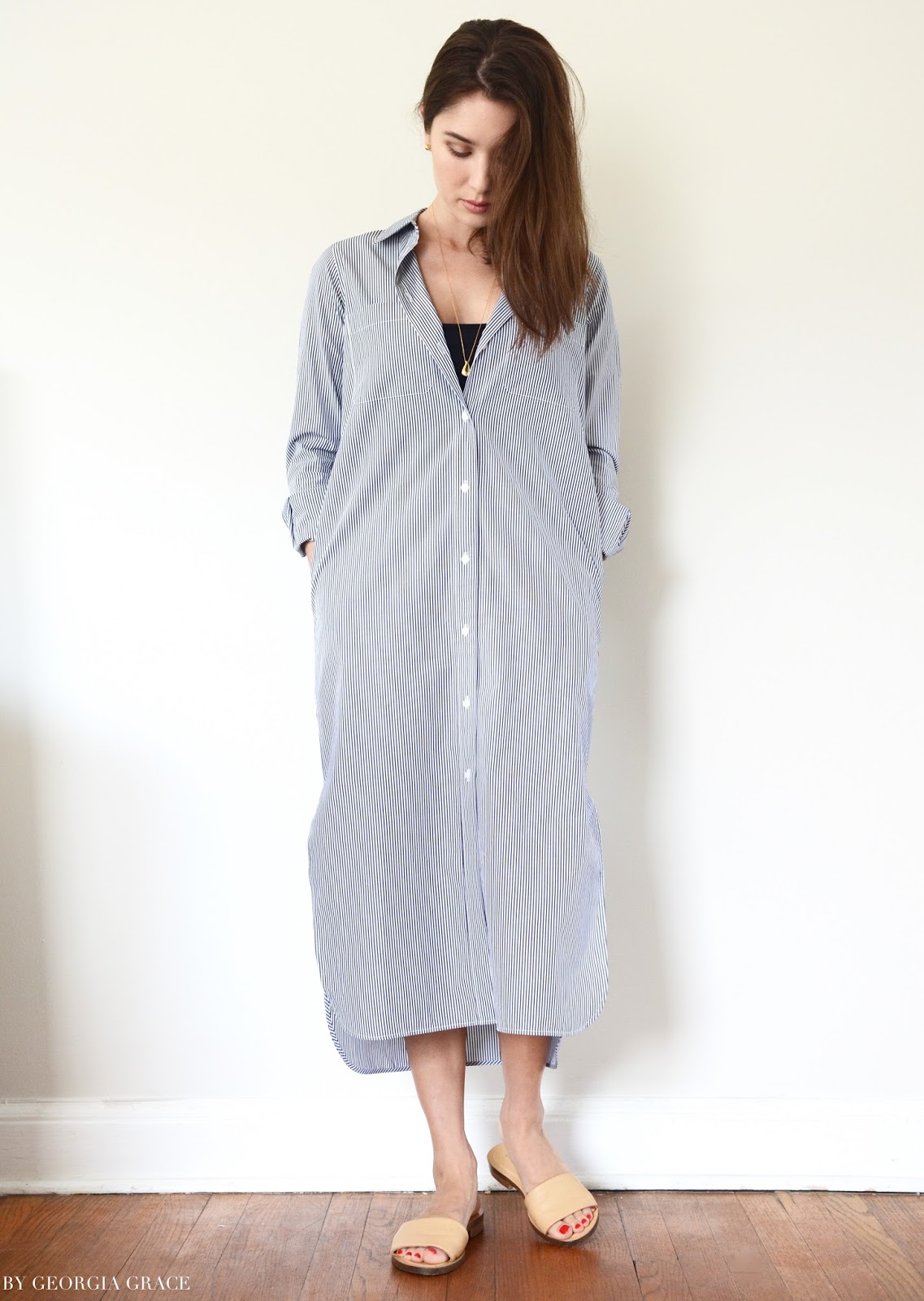 Everlane Striped Cotton Poplin Long Shirt Dress Review By