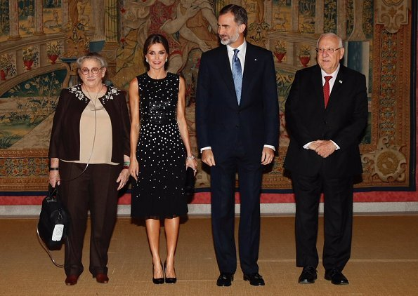 Queen Letizia wore Carolina Herrera Sequin Dots Detailing Dress. King Felipe, Reuven Rivlin and Nechama