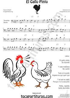 Trombón, Bombardino Partitura de El Gallo Pinto Sheet Music for Trombone, Tube, Euphonium Music Scores (tuba en 8ª baja)