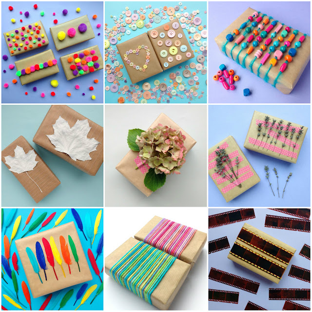 collage of gift wrapping ideas