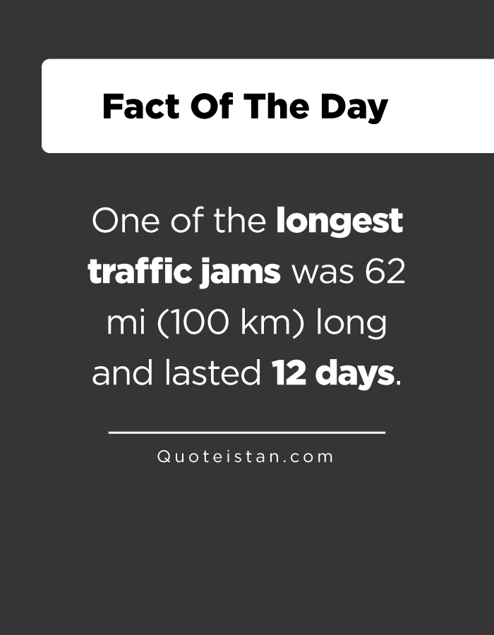 One of the longest traffic jams was 62 mi (100 km) long and lasted 12 days.