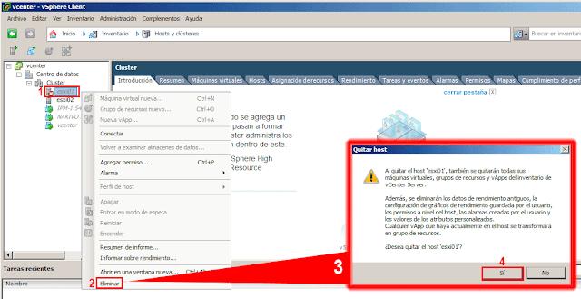 Al quitar el host 'ESXi01', también se quitaran todas sus máquinas virtuales, grupos de recursos y vApps del inventario de vCenter server.  Además, se eliminarán todos los datos de rendimiento antiguos, la configuración de graficos de rendimiento guardados por el usuario y los valores de los atributos personalizados.  Cualquier vApp que haya actualmente en el host se transformará en un grupo de recursos.