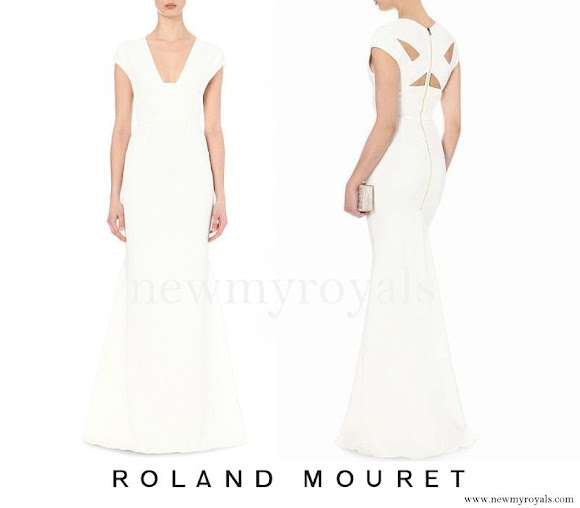Princess Charlene wears Roland Mouret Ives stretch crepe gown