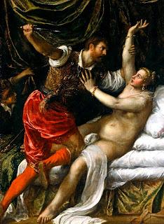 Lukrecja gwałcona przez jednego brzydala, a malował Tycjan