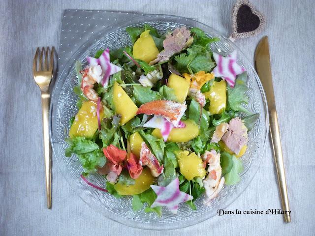 Salade folle au homard, foie gras et mangue - Dans la cuisine d'Hilary