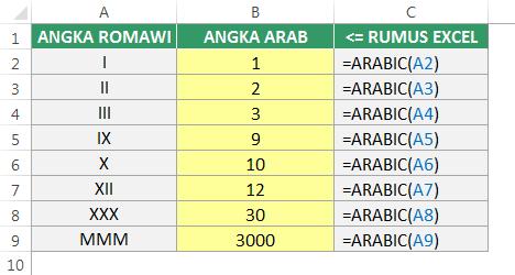 Mengonversi Angka Arab di Excel