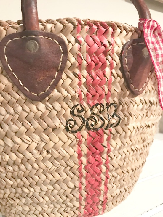 Market basket with a red stripe and monogram