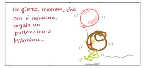 Un giorno, mamma, che ora è nonnina, regala un palloncino a Milenina...