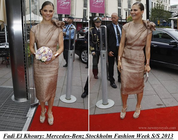 Crown Princess Victoria wore a brown coat and dress by Swedish-Lebanese designer Fadi el Khoury