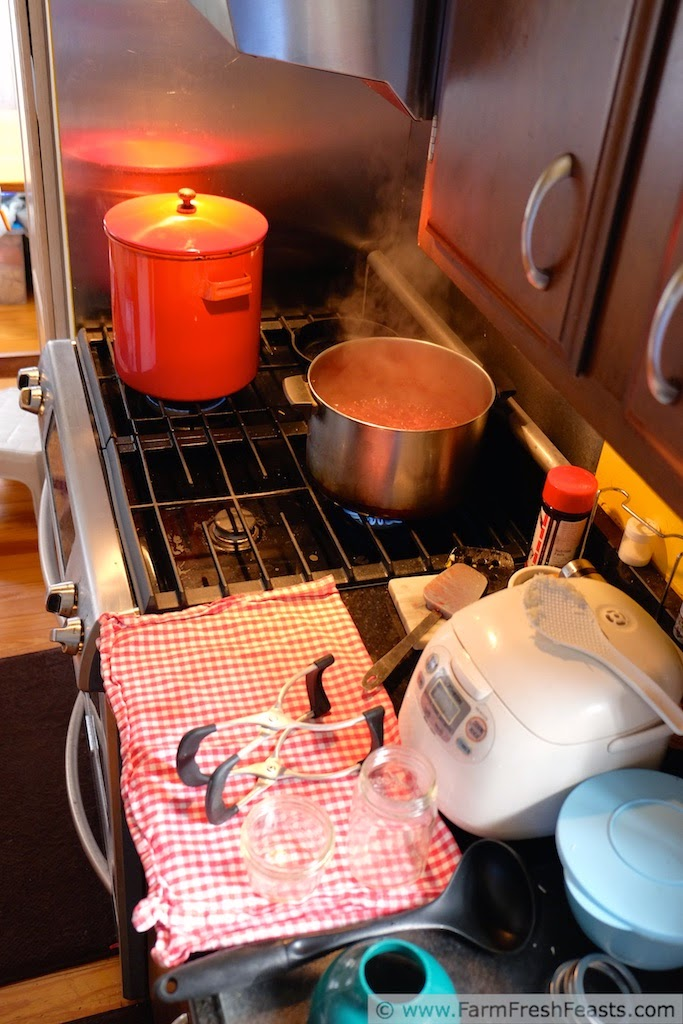 behind the scenes image in the kitchen, showing cranberry salsa simmering on the stove and a canning pot standing by