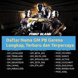 Daftar Nama GM PB Garena Lengkap, Terbaru dan Terpercaya