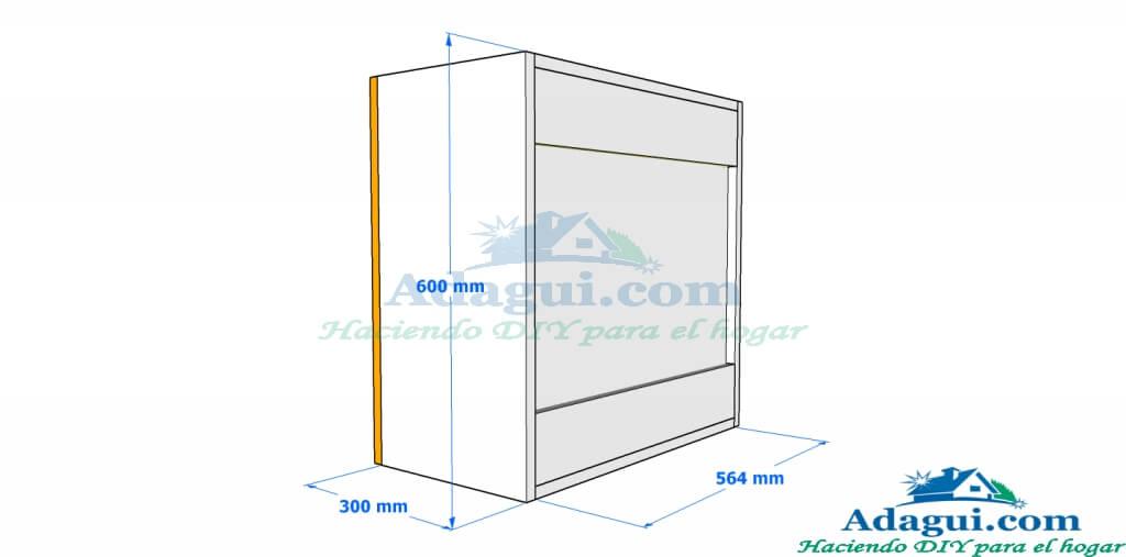 Plano y dise o con medidas mueble alto de cocina melamina for Planos para muebles de melamina