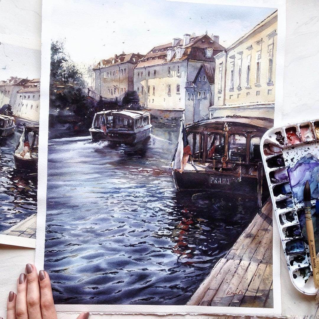 12-Prague-Anastasia-Kústova-Architectural-Watercolor-Paintings-En-Plein-Air-www-designstack-co