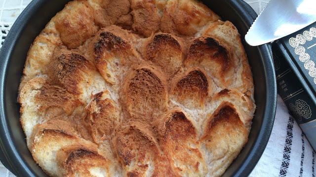 pudin pan canela aprovechamiento reciclaje receta horno tradicional leche huevos postre merienda desayuno