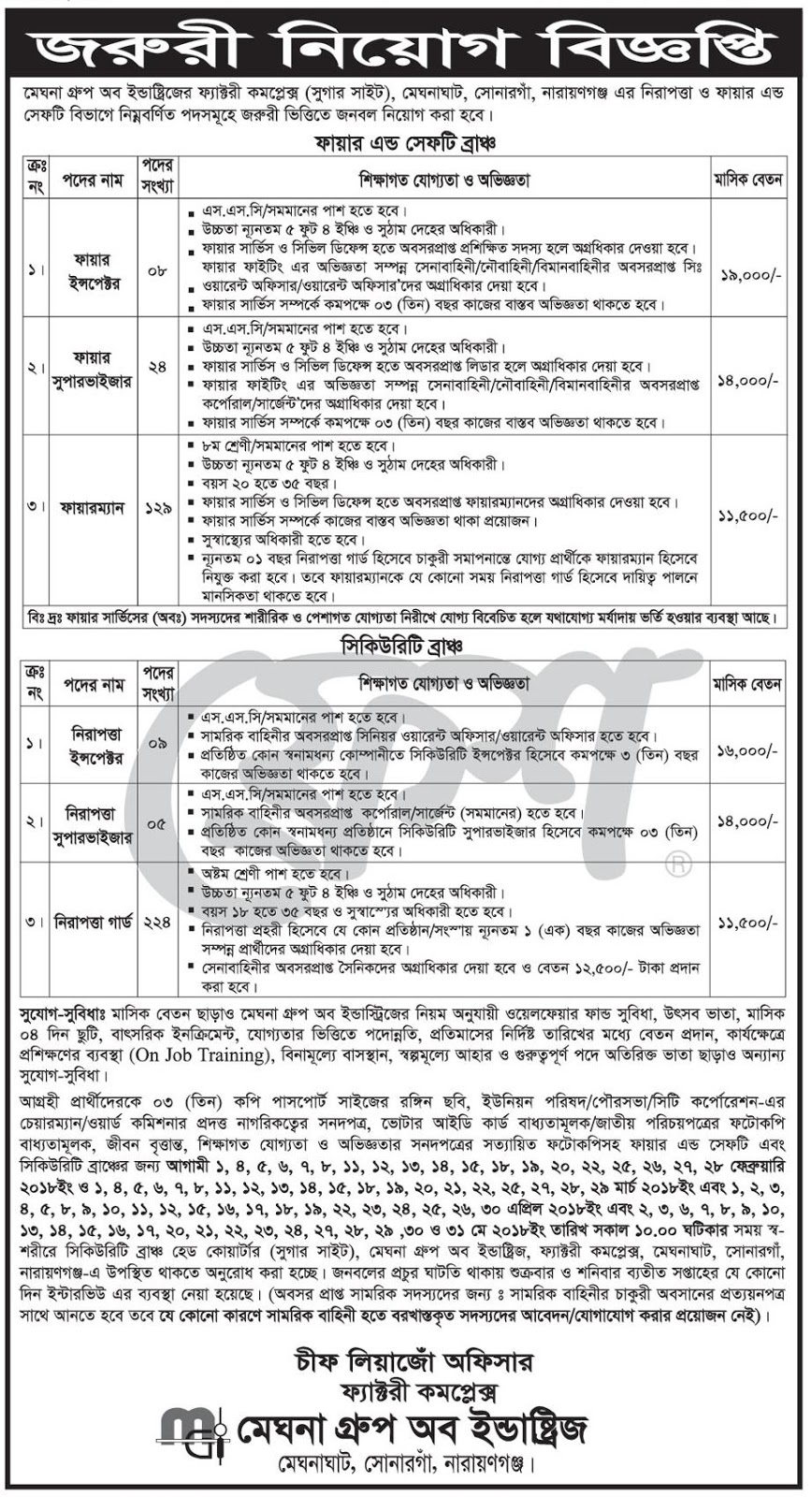 Meghna Group of Industries Security Section Job Circular 2018